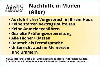 Nachhilfe in Müden (Aller)