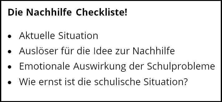 Hier sehen Sie ein Bild mit den Überschriften zur Nachhilfe Checkliste