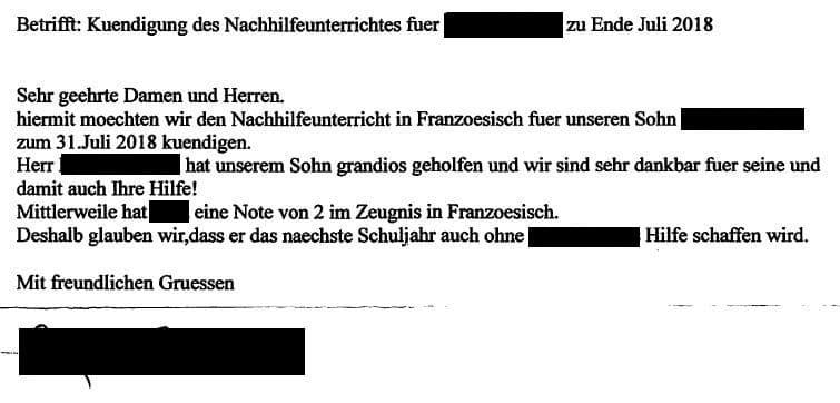 Brief mit begeistertem Dank von Eltern zur Kündigung der Französisch Nachhilfe für ihren Sohn