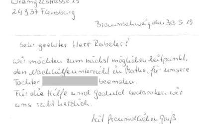 Dank für Mathe Nachhilfe in Braunschweig 7. Klasse IGS